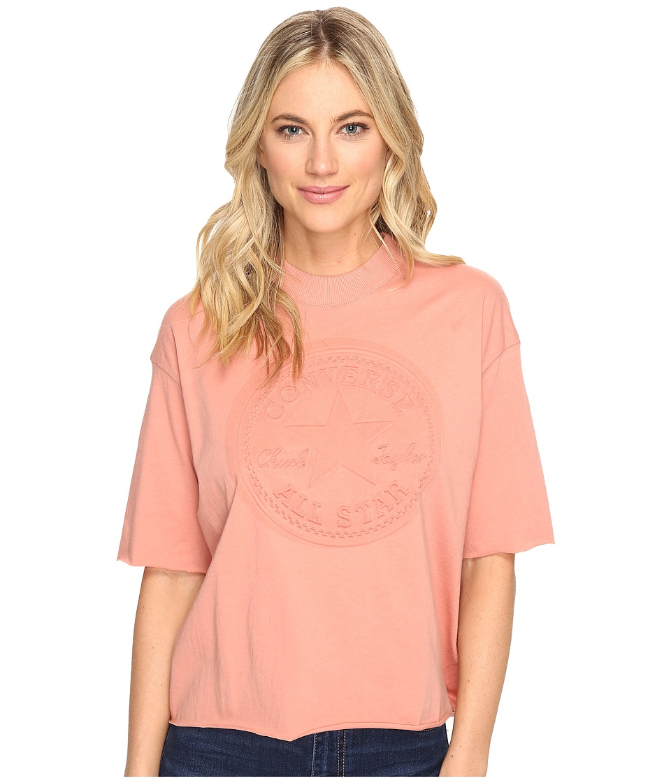 Converse Embossed Core Patch Short Sleeve Mock Neck Tee (Pink Blush) Women