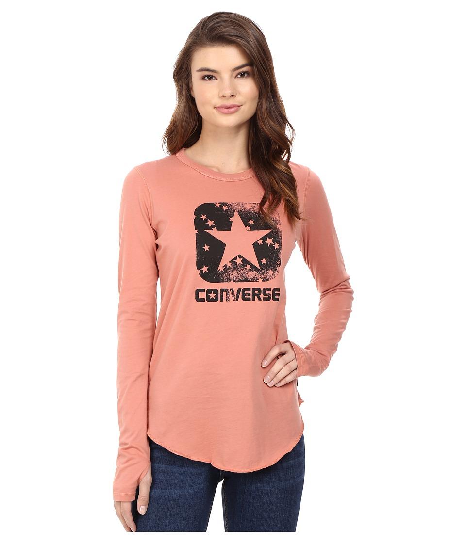 Converse Star Print Long Sleeve Tee (Pink Blush) Women