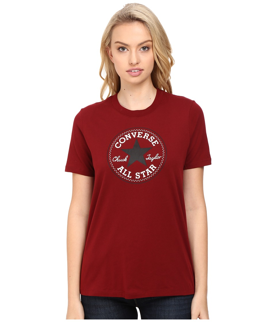 Converse Core Solid Short Sleeve Core Patch Crew Tee (Red Block) Women