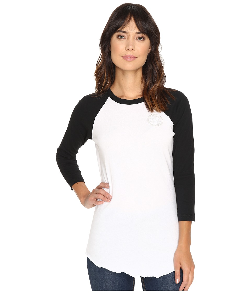 Converse - Embroidered Left Chest Core Patch Raglan Tee (White) Women