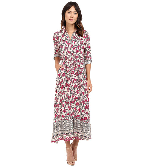 Brigitte Bailey Eris Printed Dress with Lace Inset - Burgundy