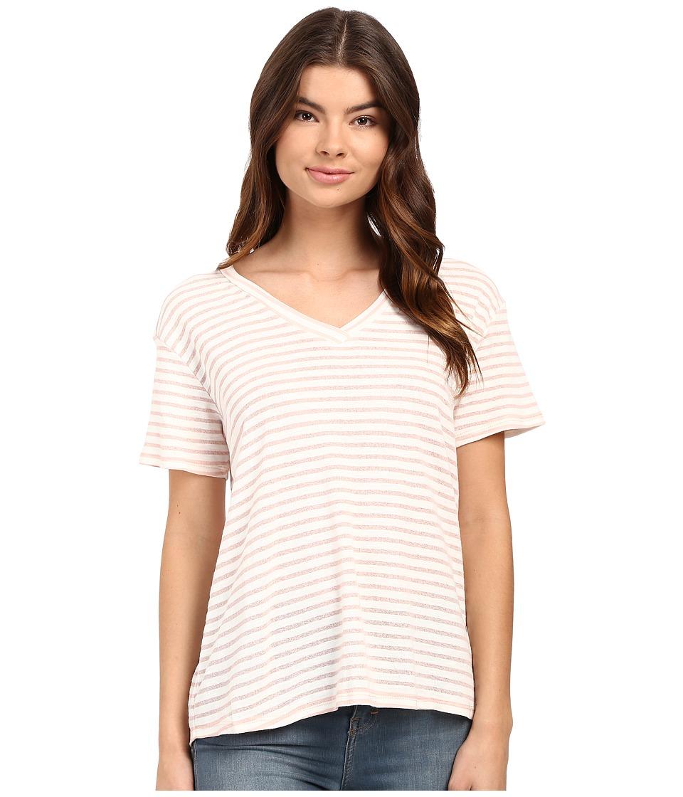 Culture Phit - Lia V-Neck Short Sleeve T-Shirt (Pink/White) Women