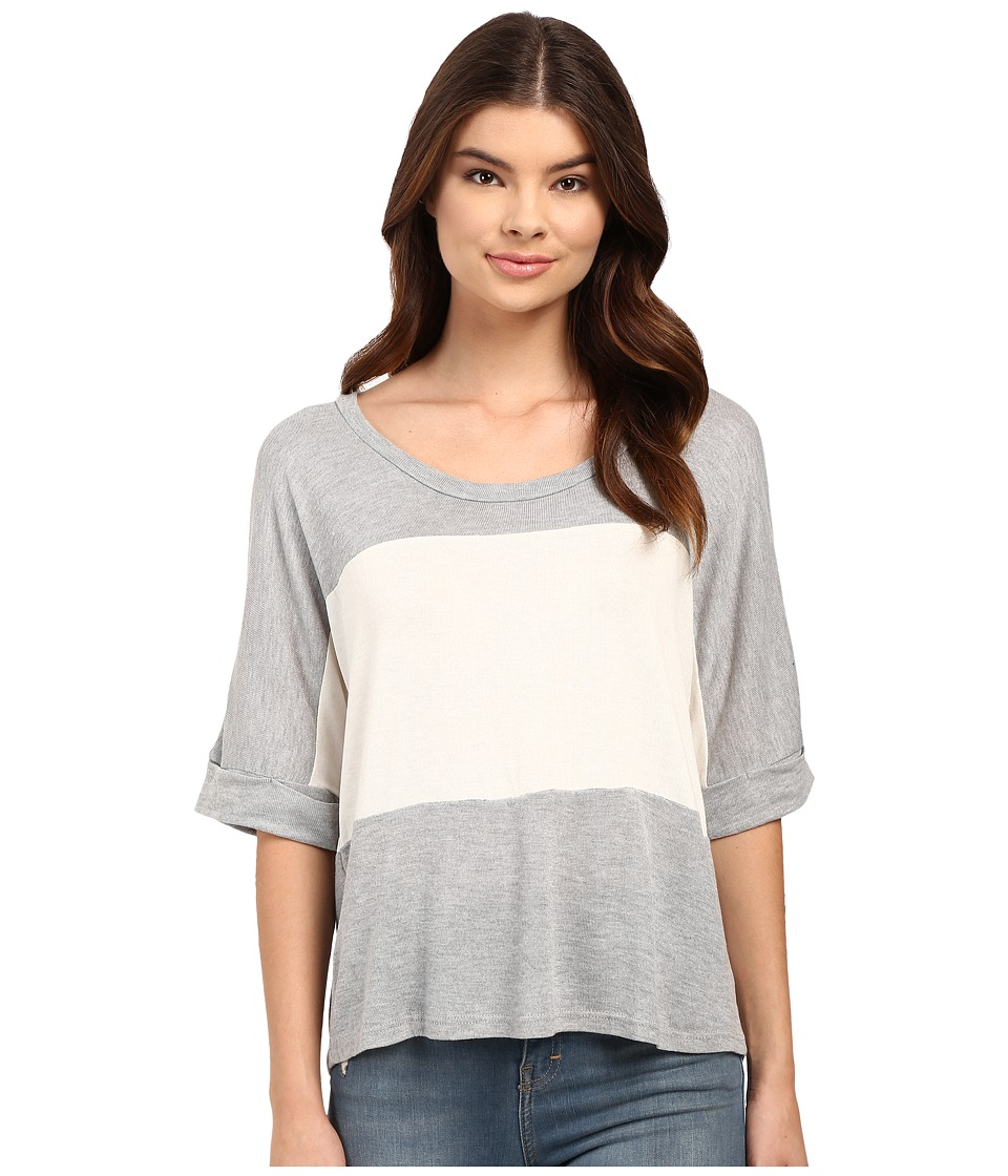 Culture Phit - Luz 3/4 Sleeve Color Block Tee (Grey) Women