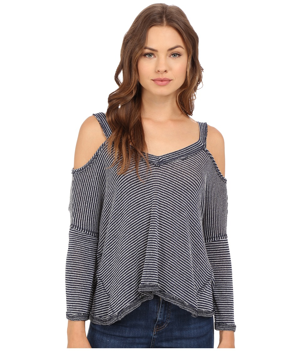 Culture Phit Alessia Ribbed Cold Shoulder Top Navy Womens Clothing