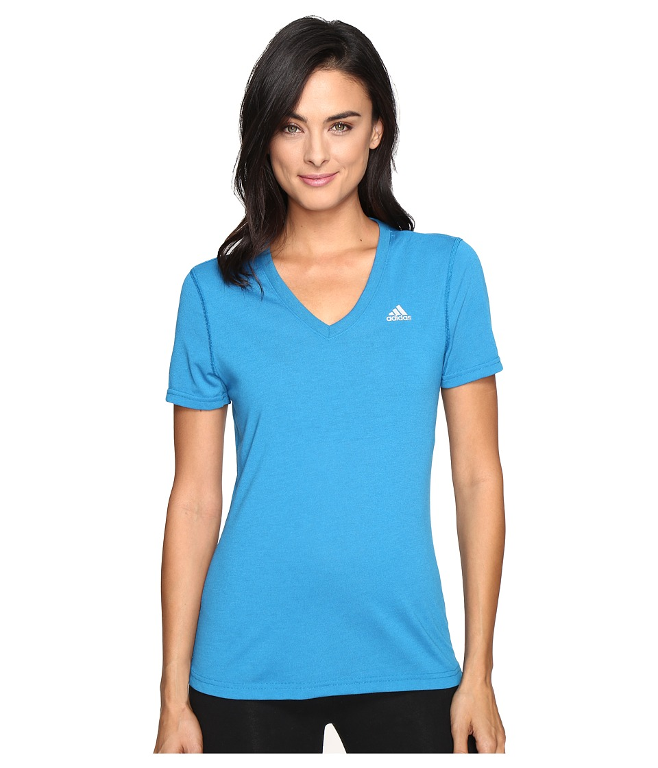 adidas Ultimate S/S V-Neck Tee (Unity Blue/Matte Silver) Women