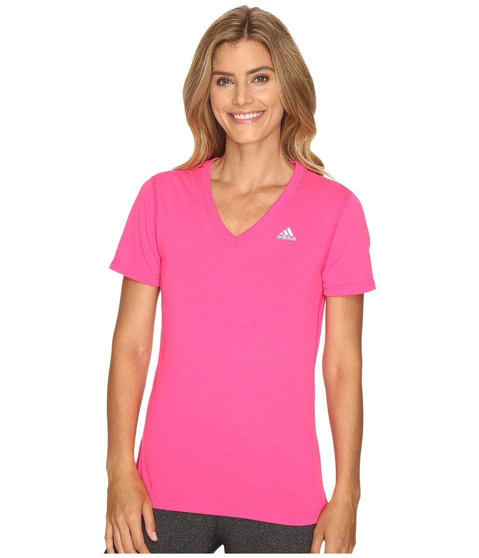 adidas Ultimate S/S V-Neck Tee (Shock Pink/Matte Silver 2) Women
