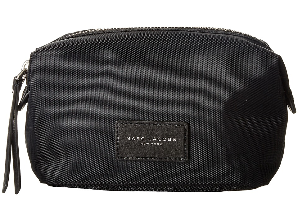 Marc Jacobs - Nylon Biker Cosmetics Landscape Pouch (Black) Travel Pouch