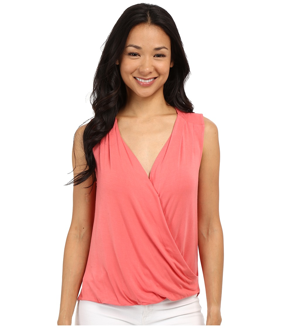 Adrianna Papell Solid Wrap Top Light Coral Womens Sleeveless