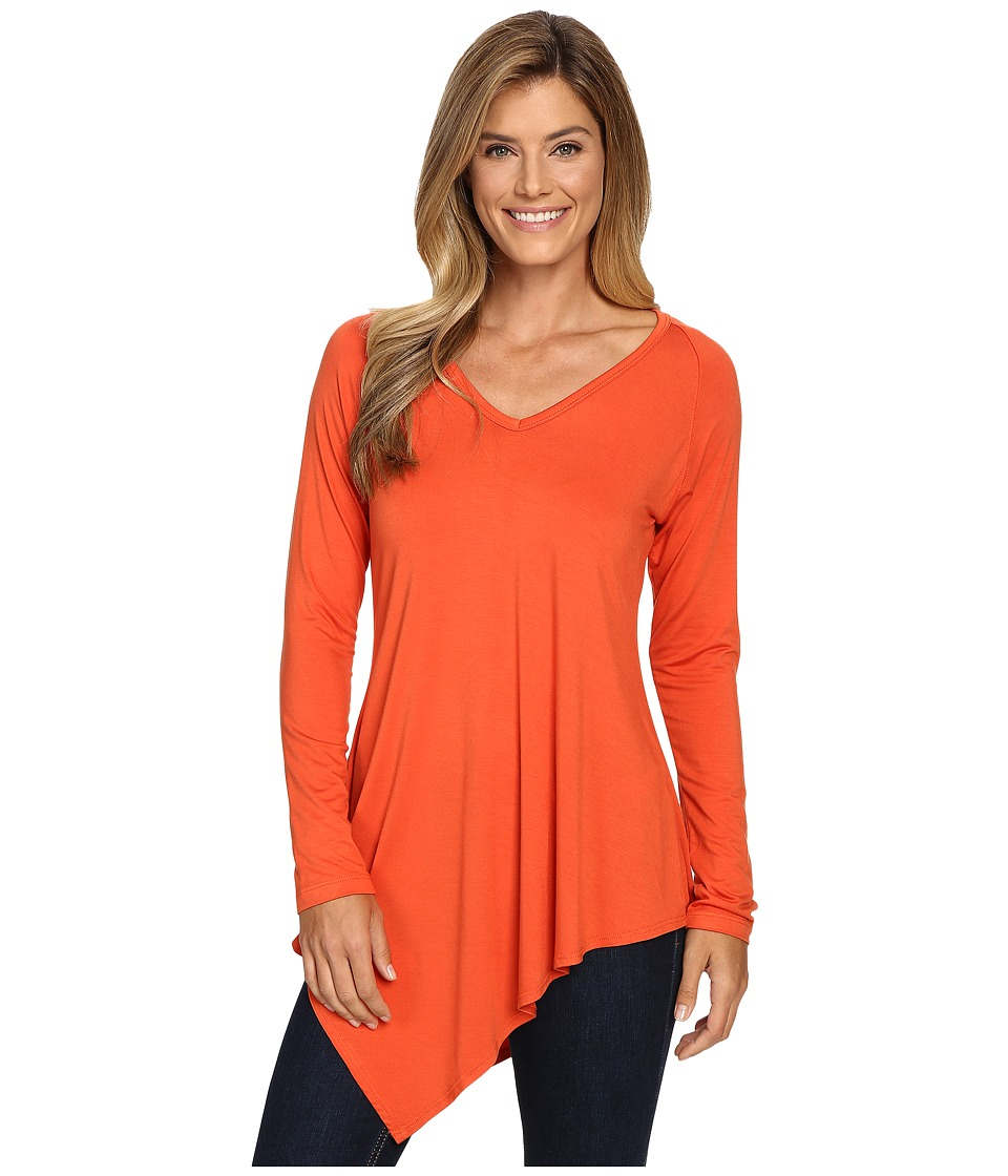 Karen Kane - Asymmetrical V-Neck Tee (Pumpkin) Women