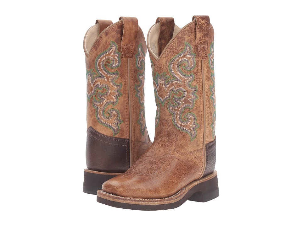 Old West Kids Boots - Square Toe Crepe Sole Tan Fry