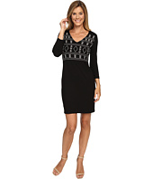 Karen Kane - Embroidered V-Neck Sheath Dress