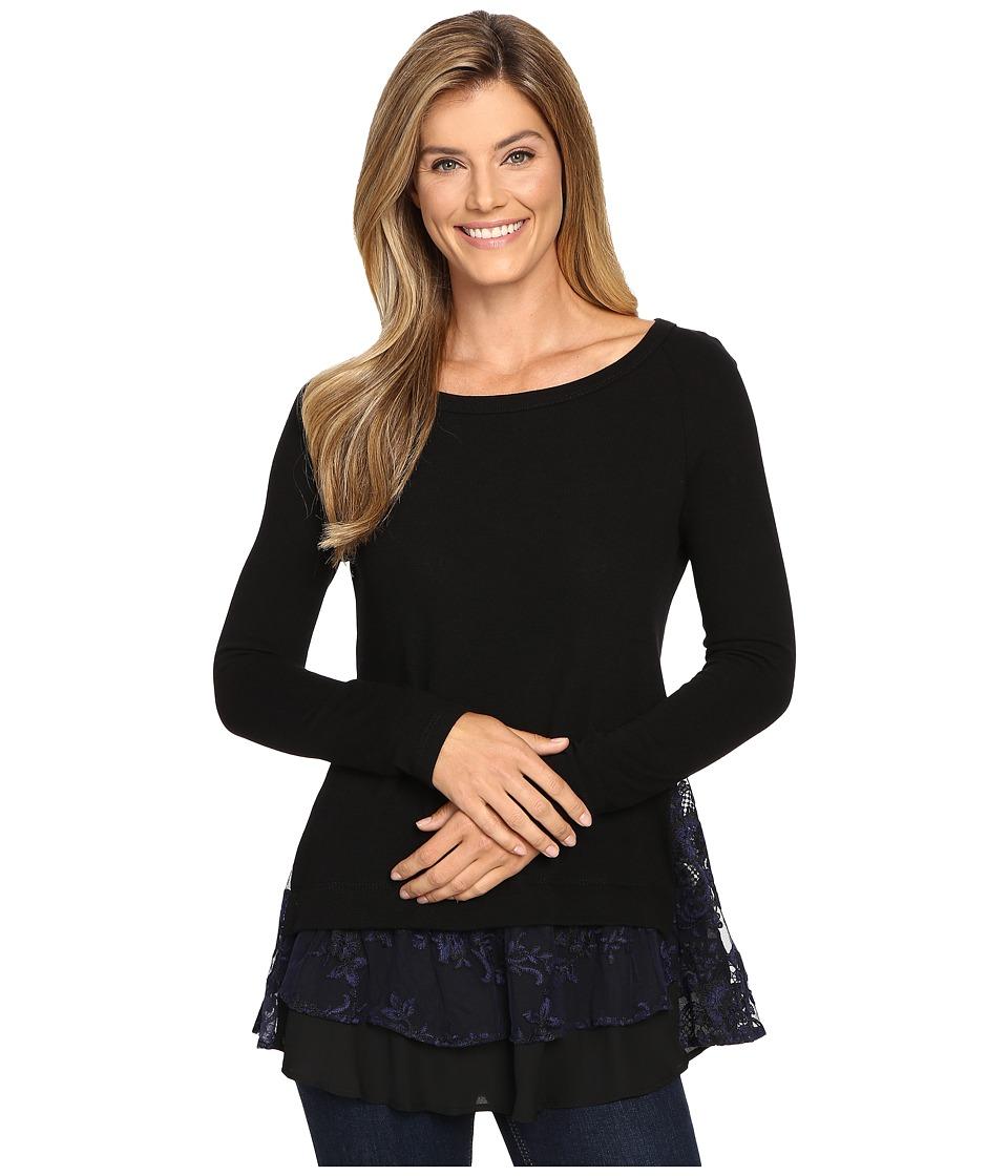 Karen Kane - Lace Inset Sweater (Black/Navy) Women