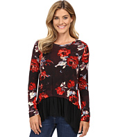 Karen Kane - Painted Rose Sheer Hem Top