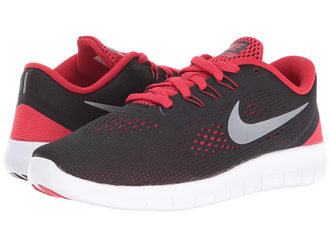 Nike Kids Free RN (Big Kid) - Black/University Red/White/Metallic Silver