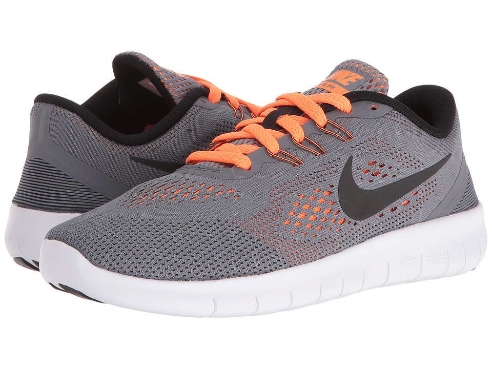 Nike Kids Free RN (Big Kid) (Cool Grey/Total Orange/White/Black) Boys Shoes