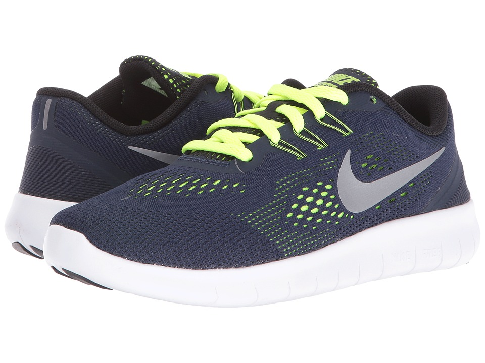 Nike Kids Free RN (Big Kid) (Obsidian/Volt/Black/Metallic Silver) Boys Shoes