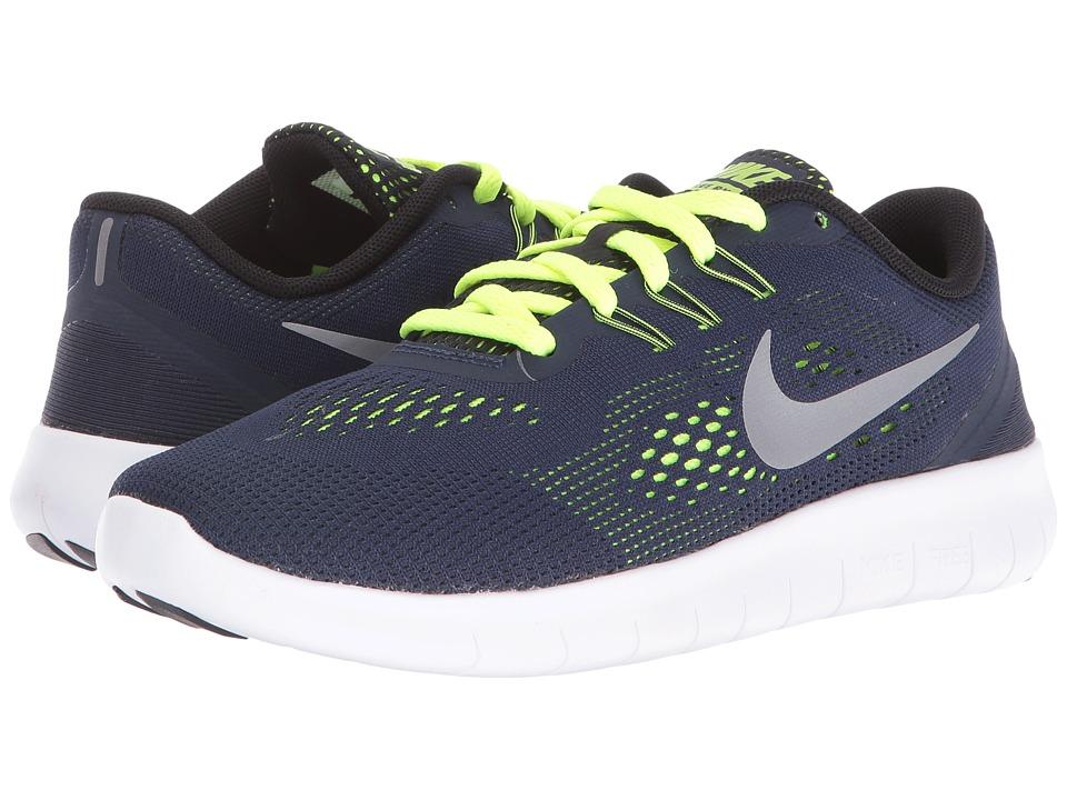 Nike Kids - Free RN (Big Kid) (Obsidian/Volt/Black/Metallic Silver) Boys Shoes