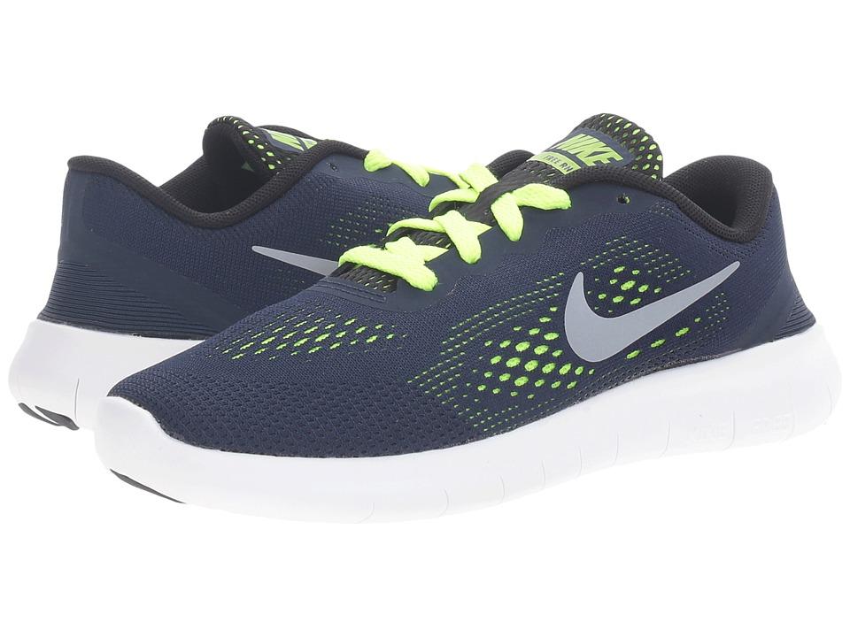 Nike Kids Free RN (Little Kid) (Obsidian/Volt/Black/Metallic Silver) Boys Shoes