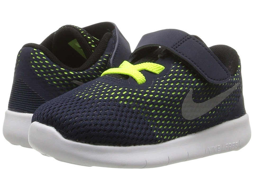 Nike Kids Free RN (Infant/Toddler) (Obsidian/Volt/Black/Metallic Silver) Boys Shoes