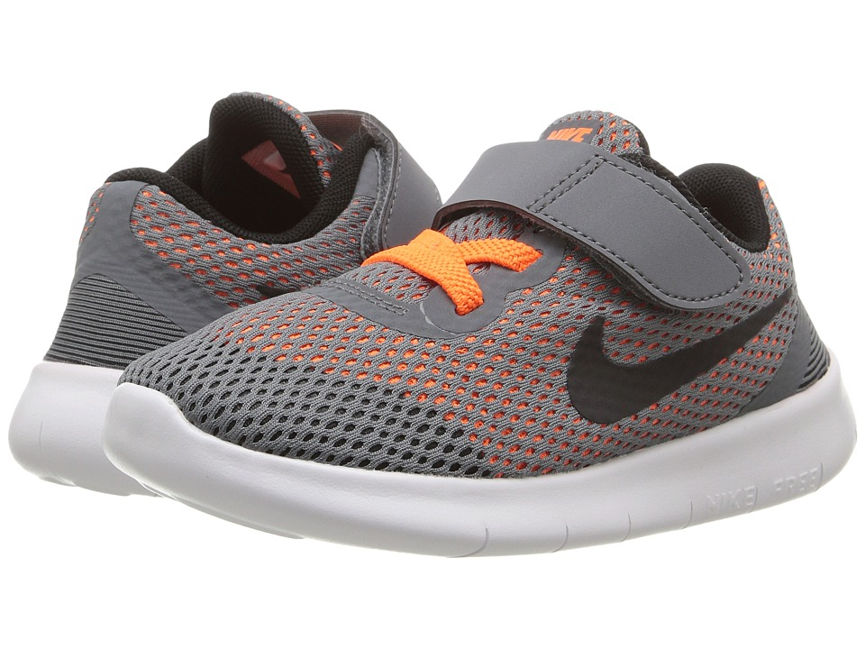 Nike Kids Free RN (Infant/Toddler) (Cool Grey/Total Orange/White/Black) Boys Shoes