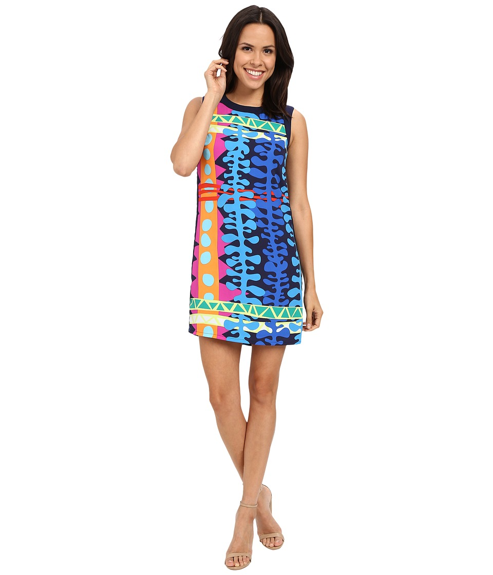 Laundry by Shelli Segal Tiki Lounge Greyson Crepe Printed Woven Tank Dress with Side Zips Electric Pink Womens Dress