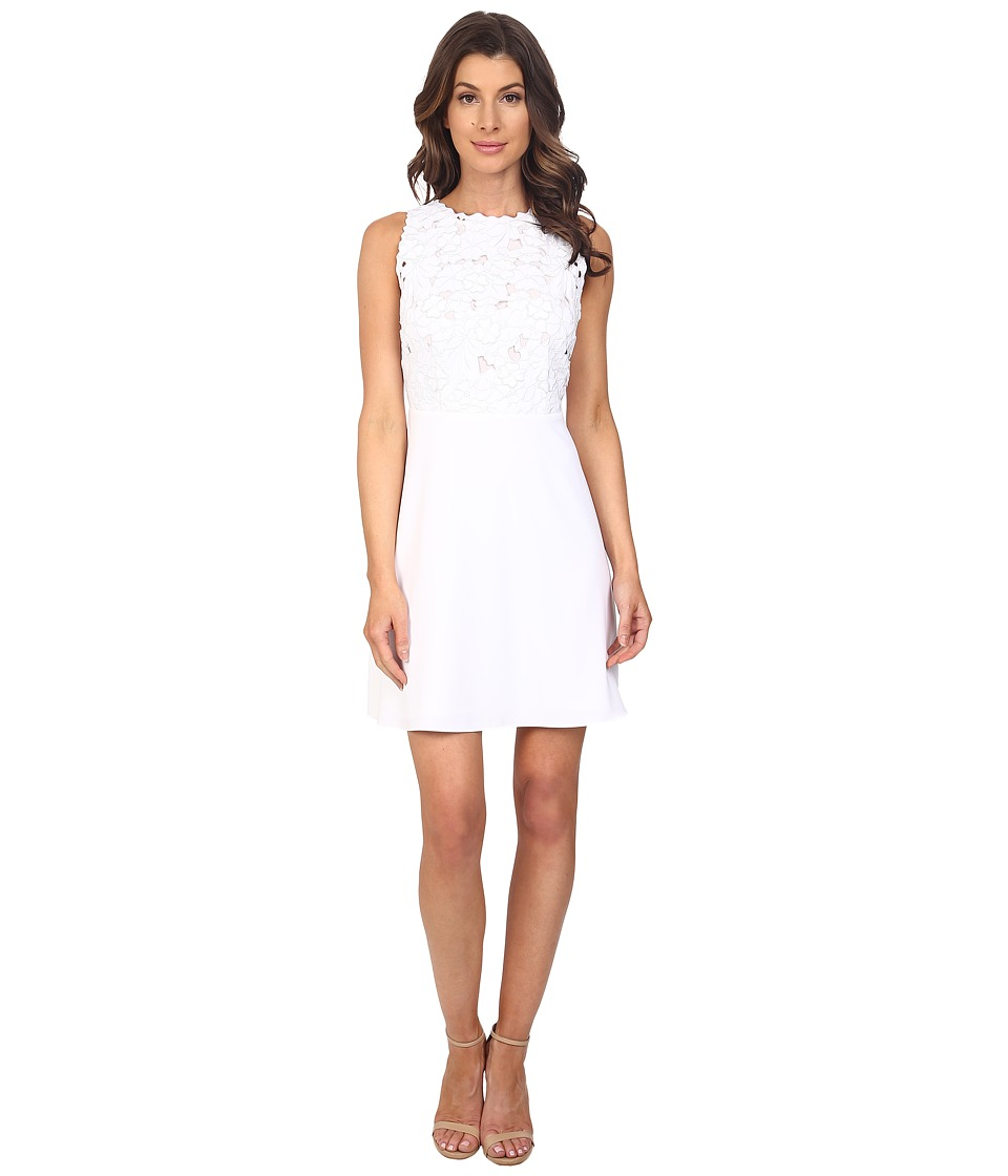 Laundry by Shelli Segal Embroidered Mixed Fabric A Line Sheath Dress Optic White Womens Dress