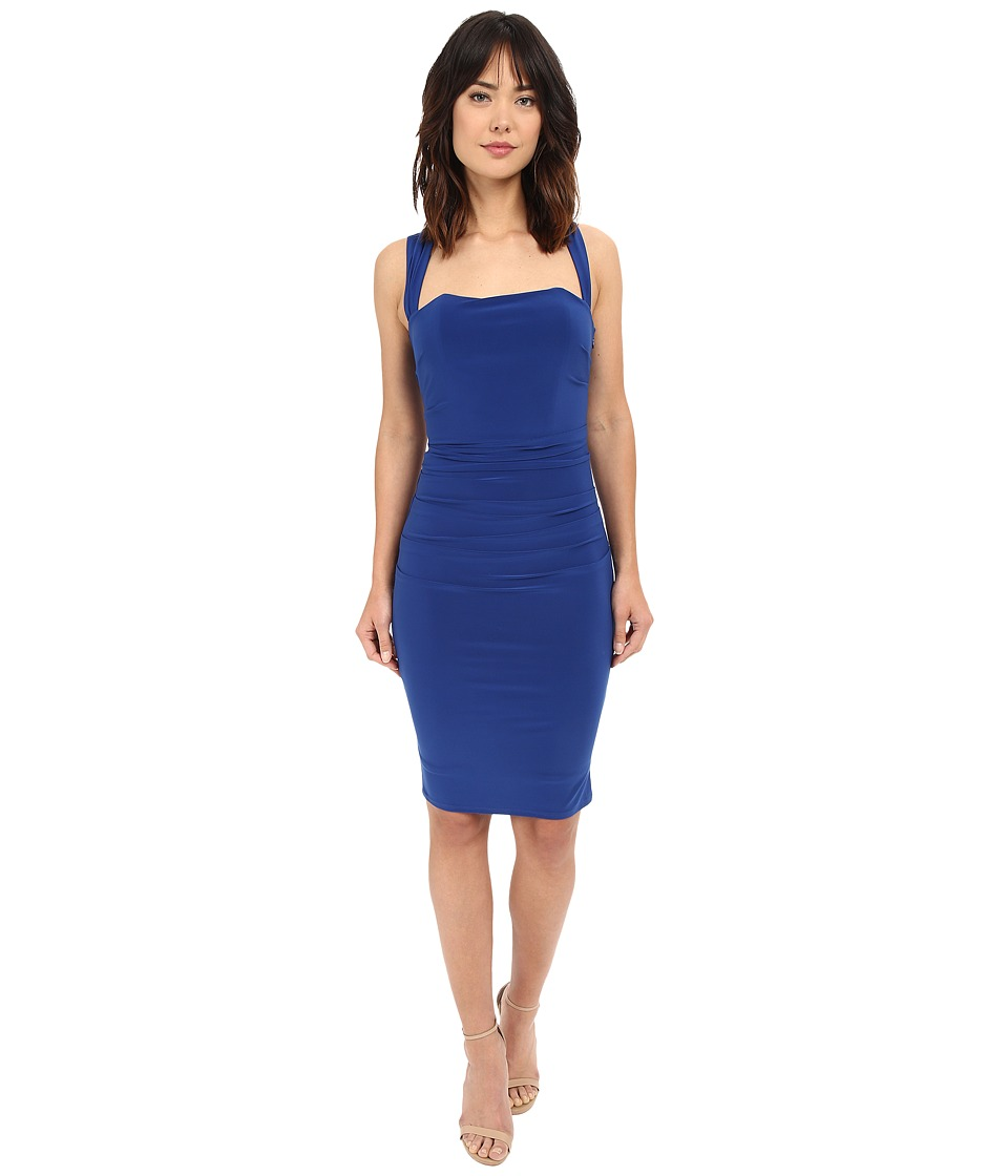 Laundry by Shelli Segal X Back Jersey Cocktail Dress Blue Beret Womens Dress