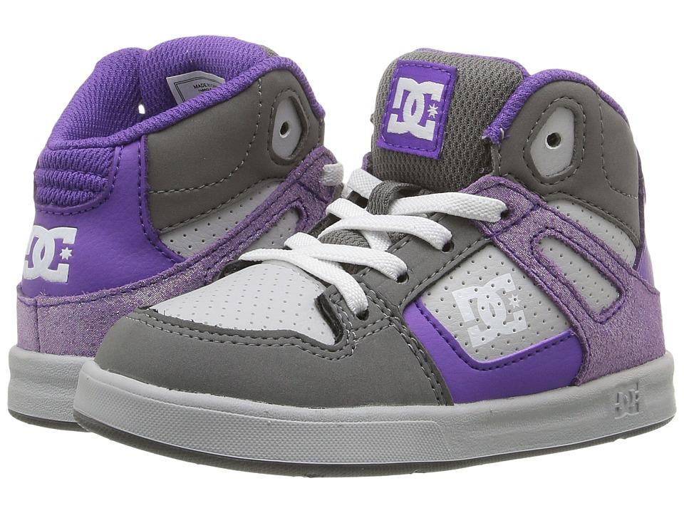 DC Kids Rebound SE UL (Toddler) (Grey/Grey/White) Girls Shoes