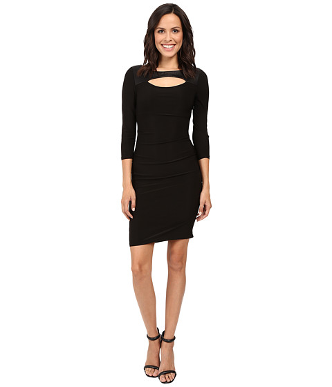 Laundry by Shelli Segal 3/4 Sleeve Fitted Dress w/ Cut Outs - Black