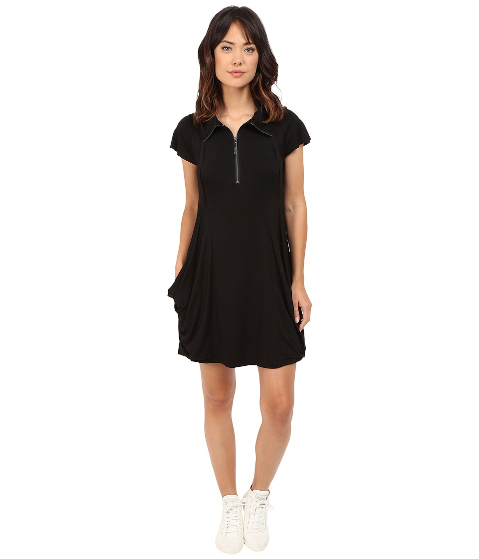 kensie Drapey French Terry Dress (Black) Women