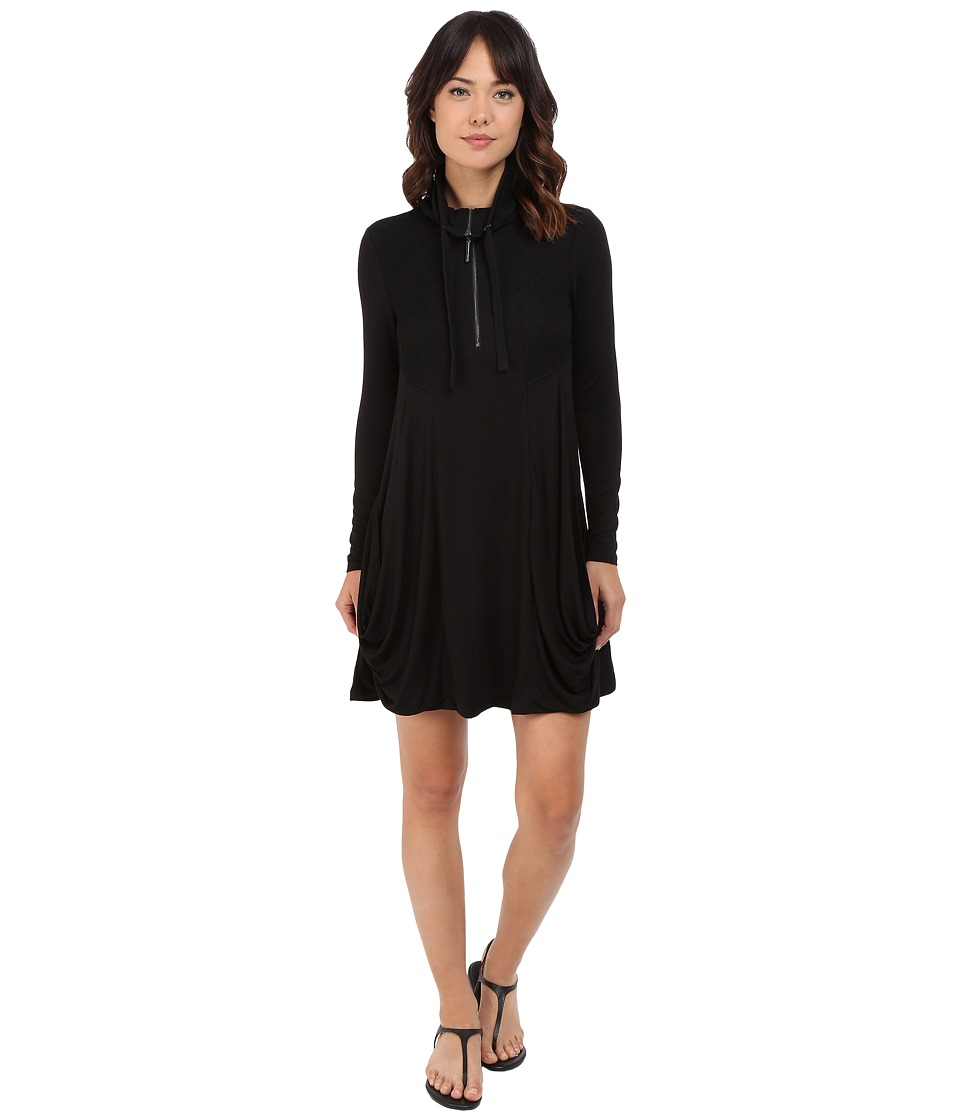 kensie Drapey French Terry Dress KS8K9656 Black Womens Dress