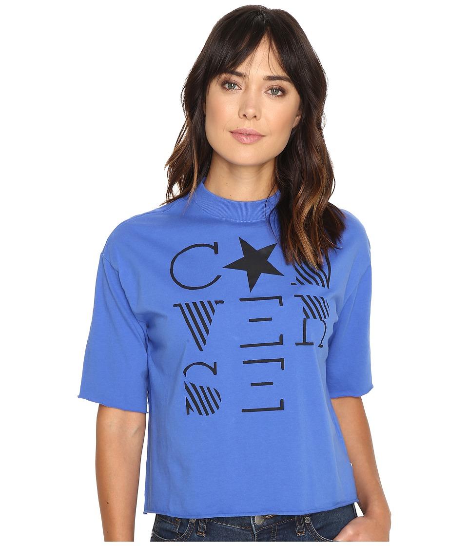 Converse - Mock Neck Short Sleeve Tee (Oxygen Blue) Women