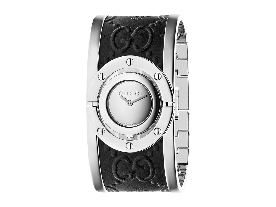Gucci Twirl Steel Case Cuff YA112441 Black/Steel Watches