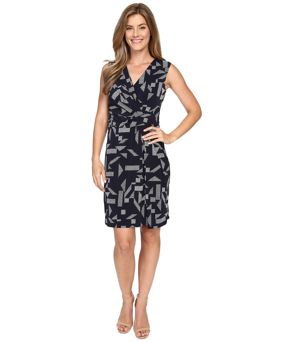Ellen Tracy Drape Twist Dress Almafi Coast Navy Womens Dress