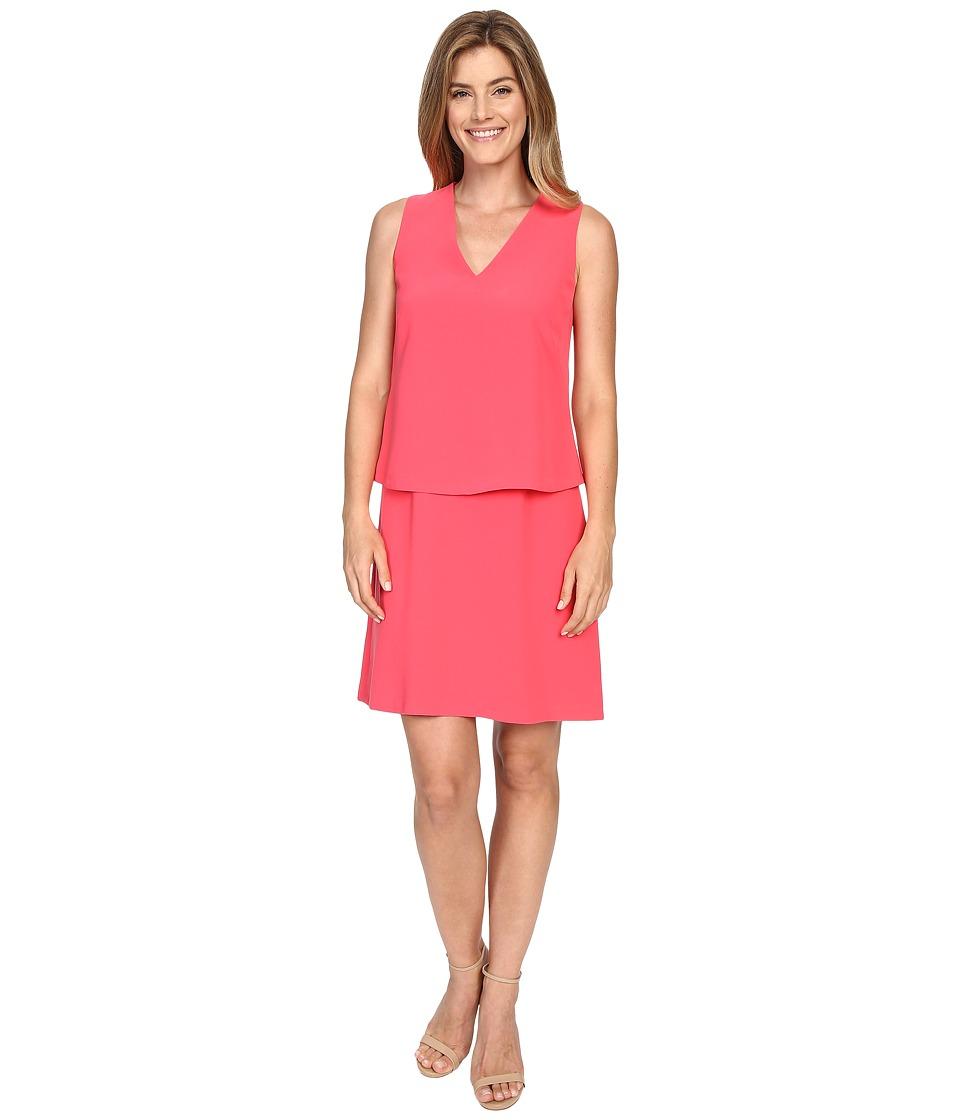 Ellen Tracy V Neck Trompe LOeil Dress Watermelon Womens Dress