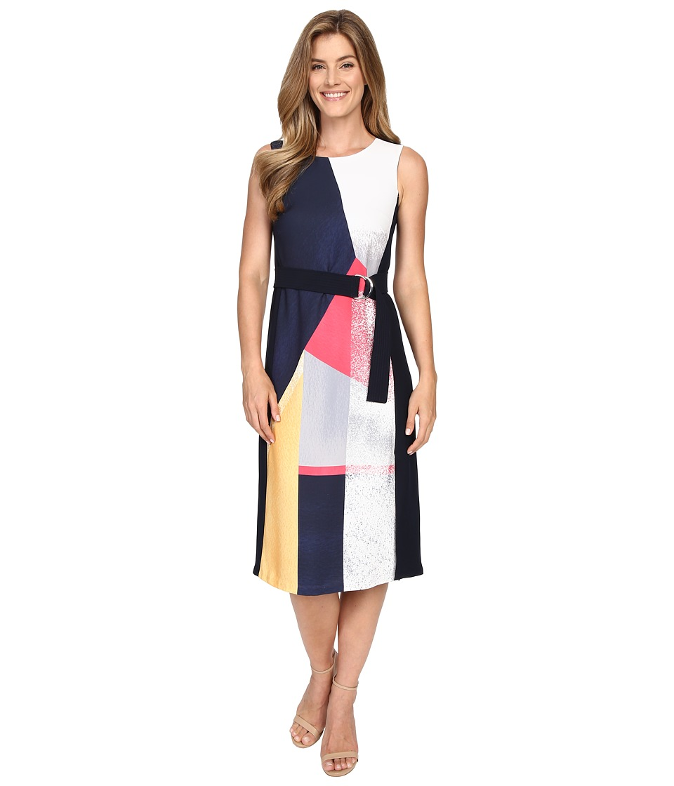Ellen Tracy Belted Dress Prismatic Multi Womens Dress