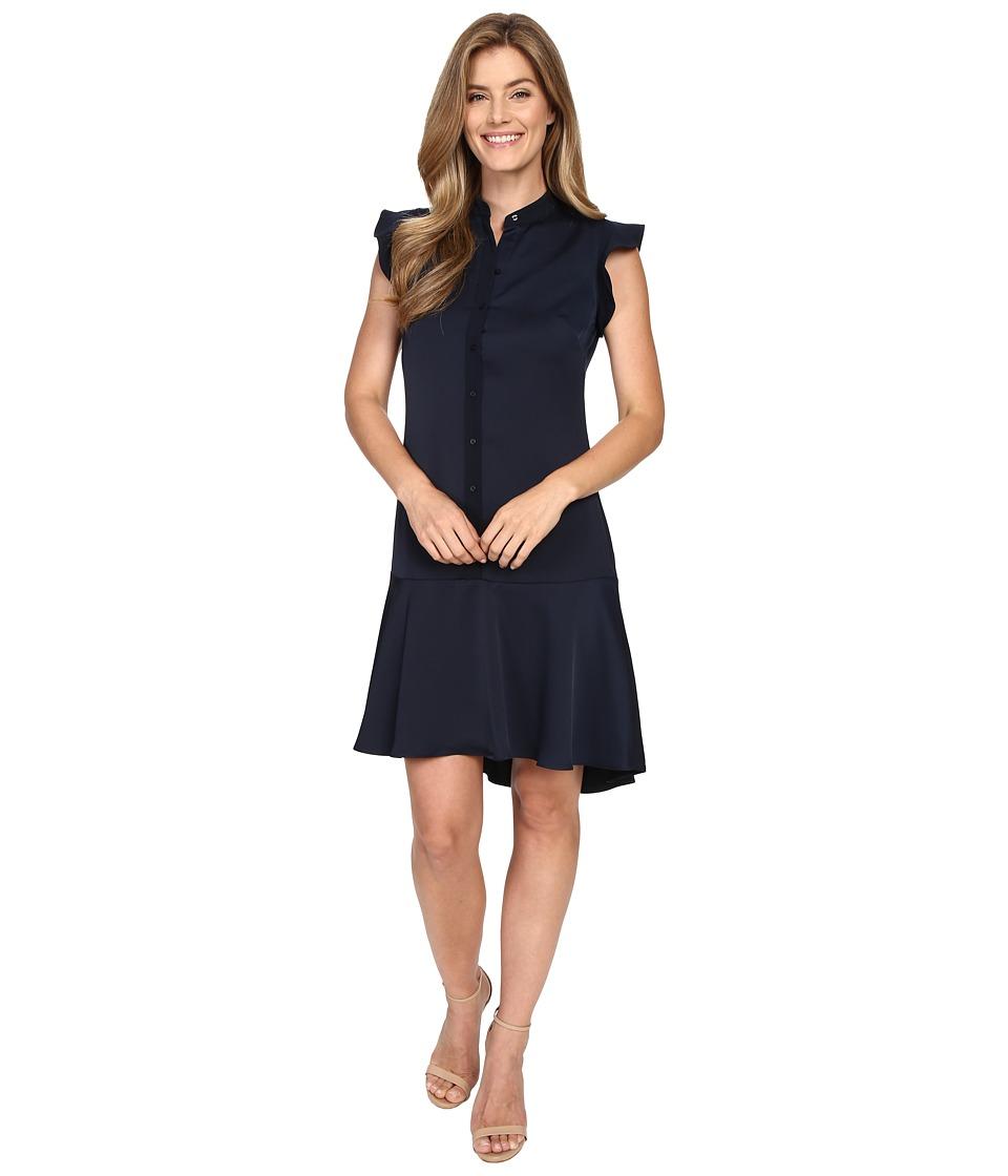 Ellen Tracy Flutter Sleeve Shirtdress E Navy Womens Dress
