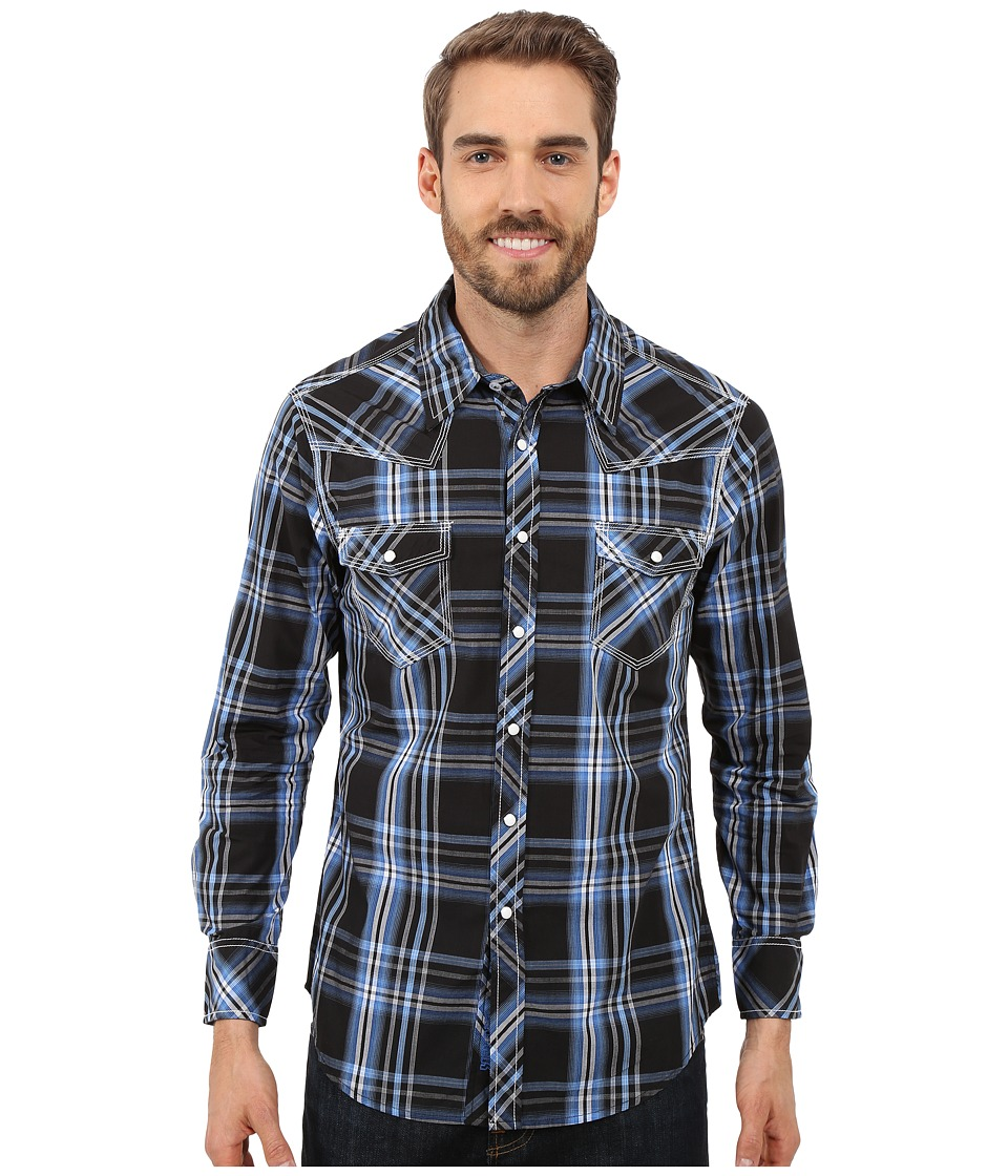 Rock and Roll Cowboy Long Sleeve Snap B2S7261 Blue Mens Long Sleeve Button Up