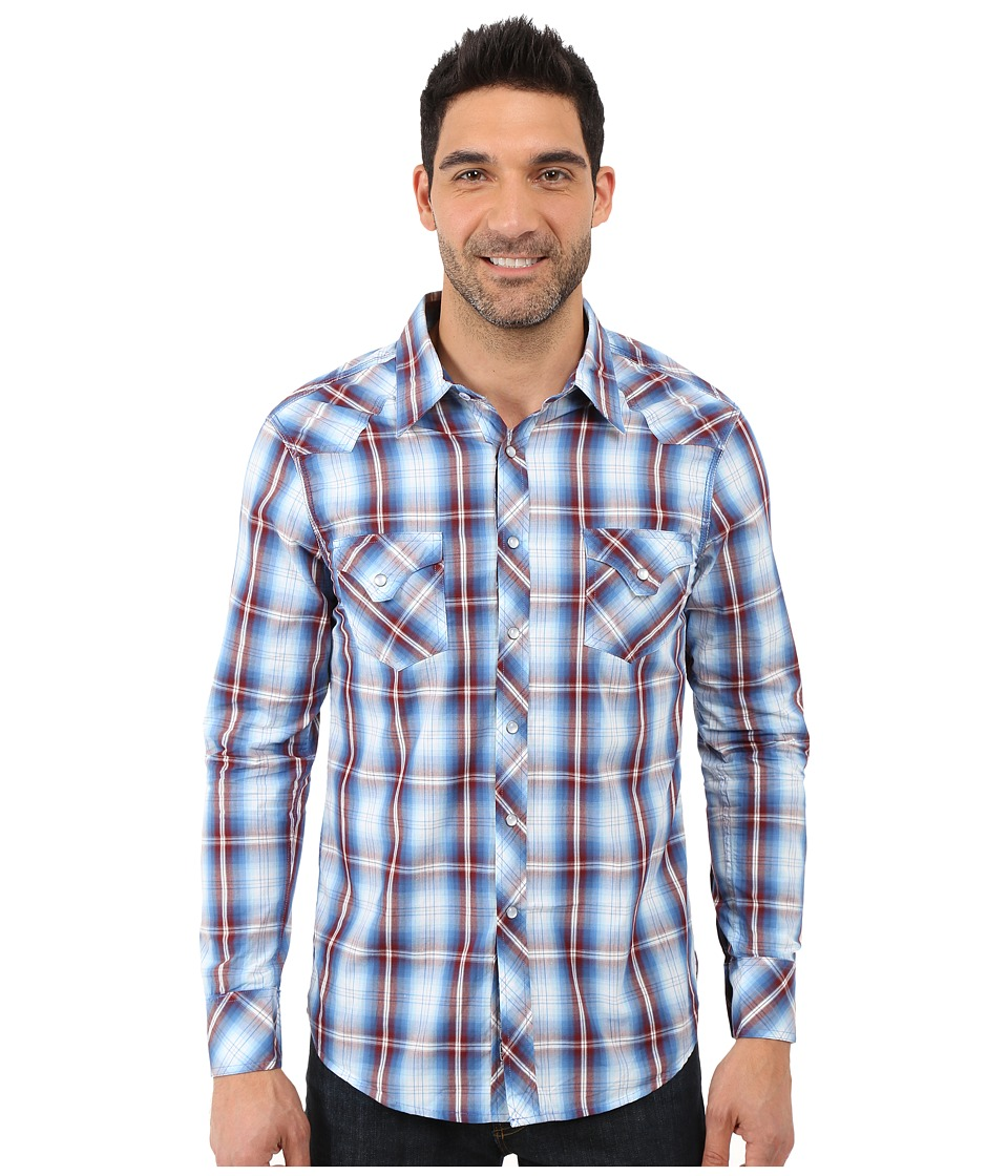 Rock and Roll Cowboy Long Sleeve Snap B2S7264 Blue Mens Long Sleeve Button Up