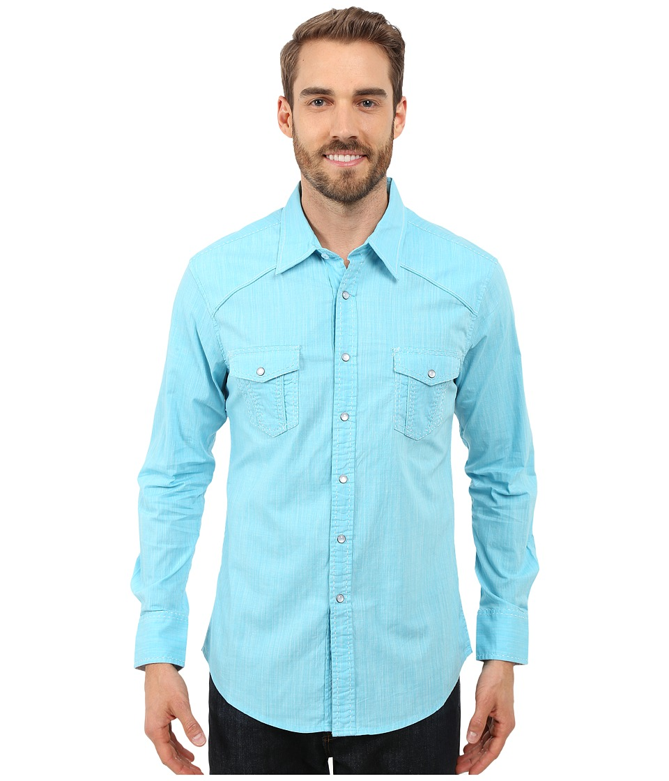 Rock and Roll Cowboy Long Sleeve Snap B2S7276 Turquoise Mens Long Sleeve Button Up