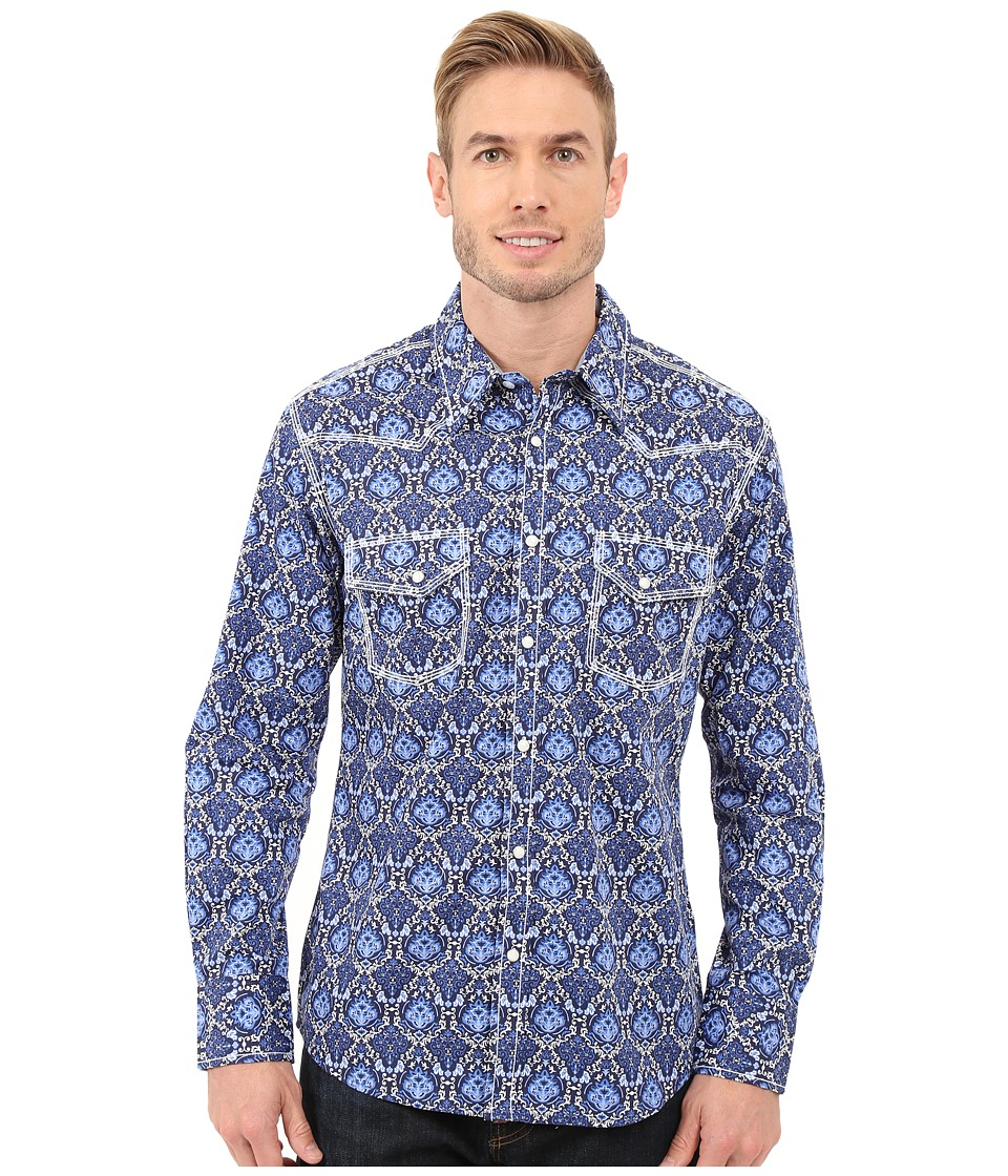 Rock and Roll Cowboy Long Sleeve Snap B2S7262 Blue Mens Long Sleeve Button Up