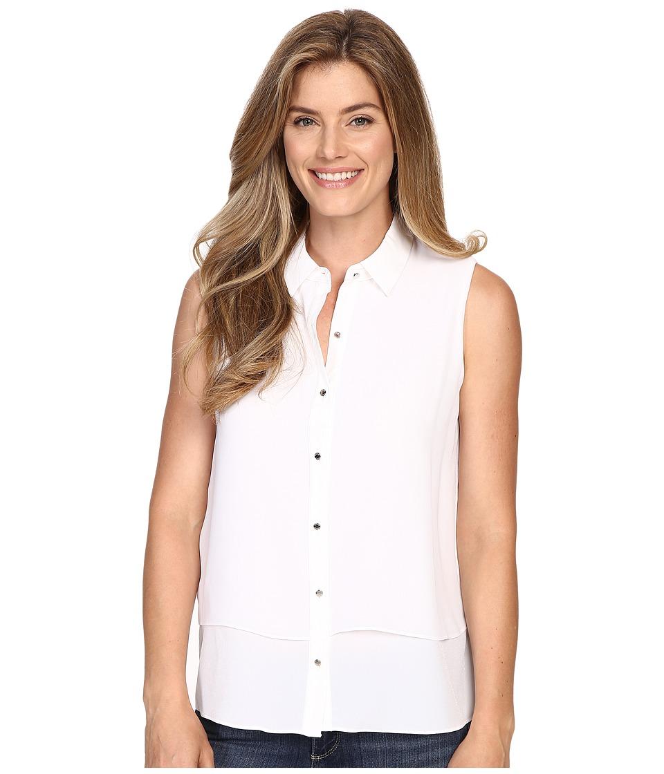 Ellen Tracy Sleeveless Double Layer Shirt E White Womens Sleeveless