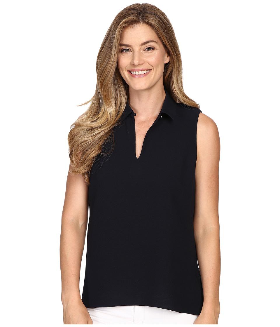 Ellen Tracy Peplum Back Collared Split Neck Shell E Navy Womens Clothing