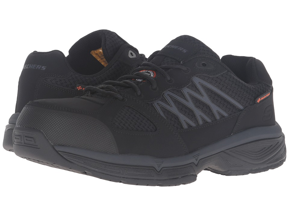 SKECHERS Work Conroe Searcy (Black Leather/Mesh) Men