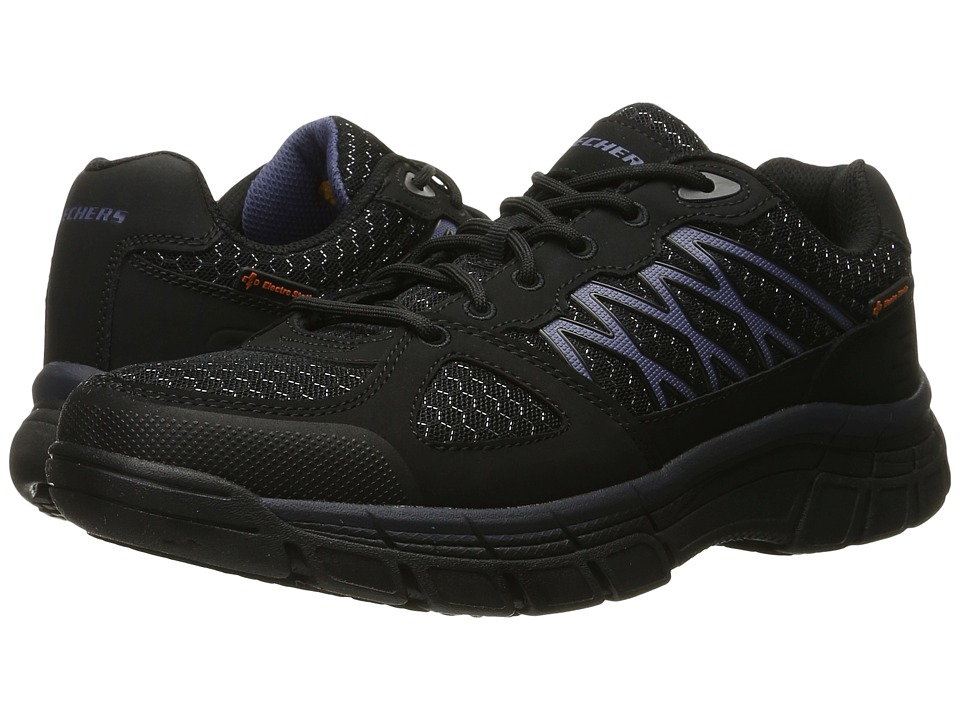 SKECHERS Work Conroe Dierks (Black Leather/Mesh/Navy Trim) Men