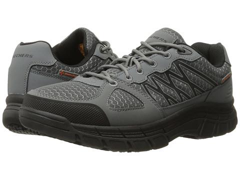 SKECHERS Work Conroe - Dierks - Gray Leather/Mesh/Black Trim
