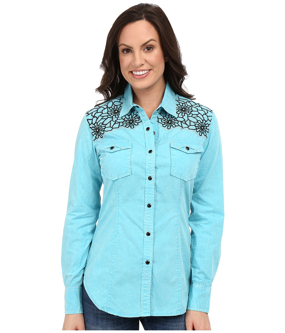 Rock and Roll Cowgirl Long Sleeve Snap B4S7314 Turquoise Womens Long Sleeve Button Up