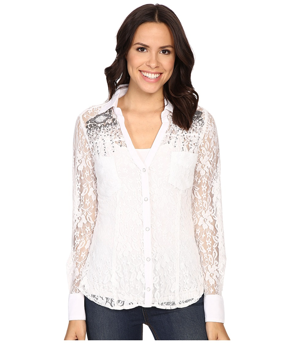 Rock and Roll Cowgirl Long Sleeve Snap B4S6402 White Womens Clothing