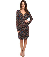 Laundry by Shelli Segal - Printed Faux Wrap Dress w/ Sleeve Detail