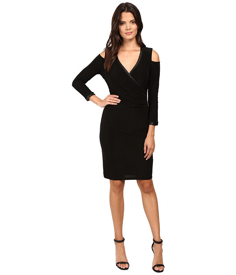 Laundry by Shelli Segal Cold Shoulder Crossover Dress with CURVE CONTROL - Black